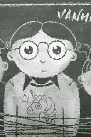 Liitutaululla on kuva kolmesta erilaisesta lapsesta, jotka ovat tiiviisti yhdessä. Taululla on myös teksti Vanhempainilta