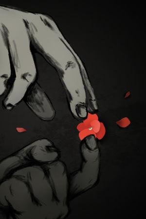 Piirros revitystä kukasta ja käsistä