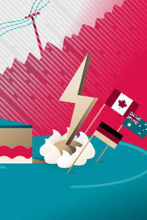 Kuvituskuva myrskystä ja kakusta, jonka päällä näkyy Kanadan, Australian ja Saksan liput