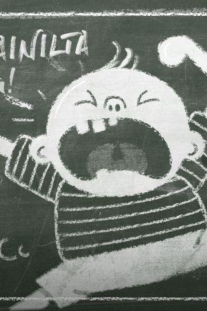 Kuvassa on liitutaulu, johon on piirretty raivoava lapsi. Lisäksi siinä on teksti Vanhempainilta.