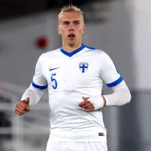 Juho Hyvärinen i U21-landslaget.