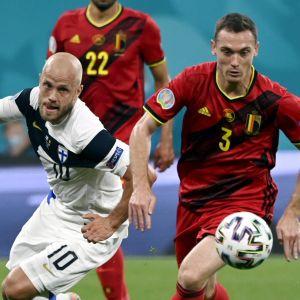 Teemu Pukki i EM-match mot Belgien.