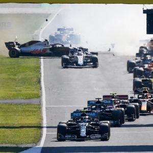 Flera bilar krockar under Toscanas grand prix 2020.
