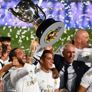 Real Madrid firar ligatiteln 2020.