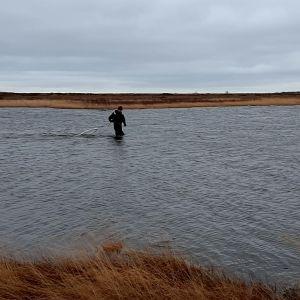 en man står i grund vatten och lägger ut nät