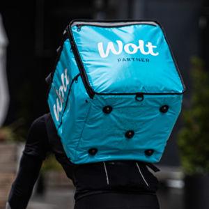 En Wolt-cyklist, matbud.