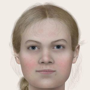 En rekonstruerad bild av en kvinna som levde i Vörå på 500-talet