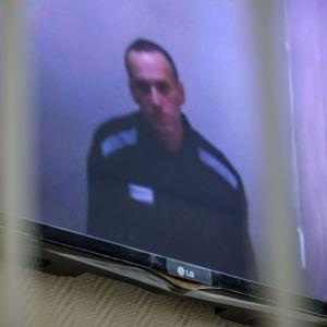Aleksej Navalnyj på en TV-skärm under en rättegång.