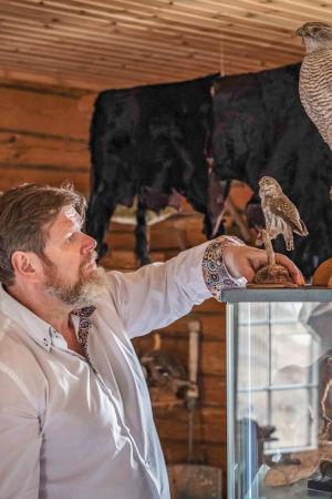 Mies valkoisessa paidassa, vitriinin päällä täytetty kotka, ympärillä täytettyjä eläimiä hirsitalossa