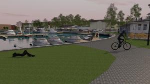En skiss eller ritning på ett grönområde i hamnen med cyklist och en ritad gubbe som ligger och slappar på gräsmattan.
