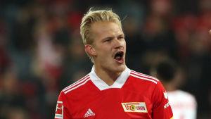Joel Pohjanpalo firar sitt första mål i Union Berlins tröja.