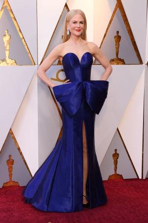 Nicole Kidman på röda mattan inför Oscarsgalan 2018.