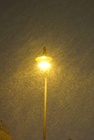 gatulampa i snöfall
