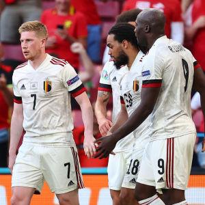 Belgiens fotbollsherrar firar ett mål i matchen mot Danmark.