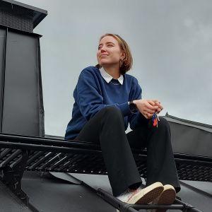 Ilon sitter på ett höghustak. skorsten syns och en molnig himmel.