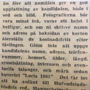 Klipp från Hufvudstadsbladet den 29 oktober 1961. Redaktionen ber läsarna nominera luciakandidater.