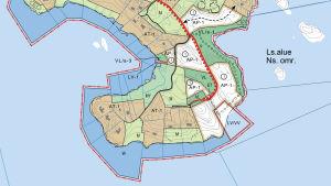 Karta över en del av det område på Pickala-Marsudden som ska planeras.