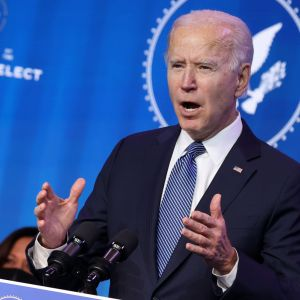 USA:s president Joe Biden håller presskonferens den 7 januari 2021.