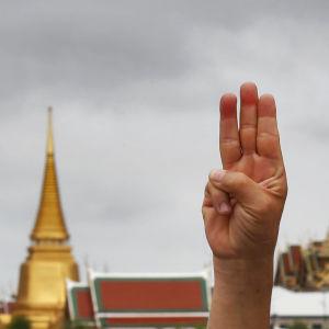 Bild på hand som håller upp tre fingrar.