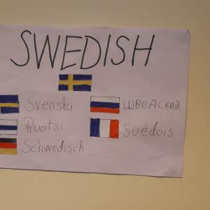Plansch på väggen med svenska flaggan.