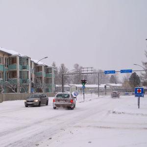 Trafikkorsning i Borgå centrum.