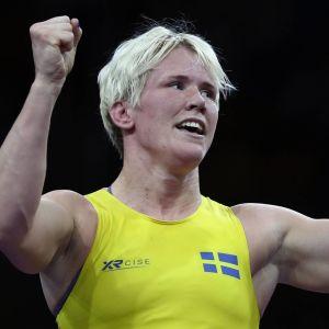 Jenny Fransson jublar i brottnings-EM 2018.