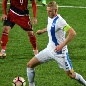 Richard Jensen avslutade U-landslagskarriären som kapten mot Georgien.