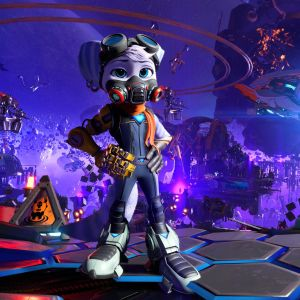 En figur i ett tv-spel poserar i rymden.