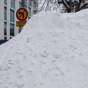 Lumikasa Kilpisenkadulla Jyväskylän keskustassa.