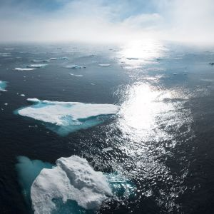 Smältande isblock.