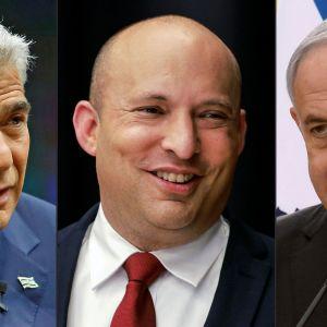 Yair Lapid,  Naftali Bennett och Benjamin Netanyahu