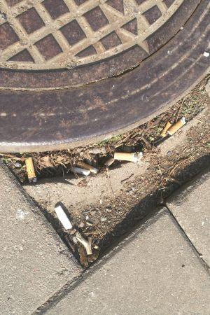 Kastade fimpar på en gata i Åbo.