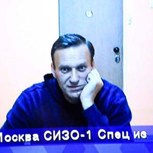 Medelålders man i blå tröja sitter och tittar in i en kamera. Aleksej Navalnyj deltog i rättegången den 28 januari 2021 via videolänk från fängelset.