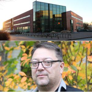 Tre personer tittar in i kameran med löv i bakgrunden. I hörnet en stor skolbyggnad.
