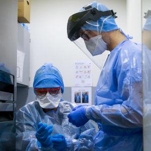 Två hälsovårdare klär sig i skyddsutrustning vid sjukhuset i den belgiska staden Marche-En-Famenne