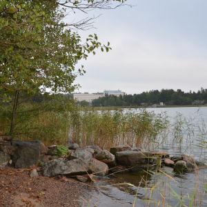 Utsikt över Runsala Bad från Villa Ståhlströms brygga.