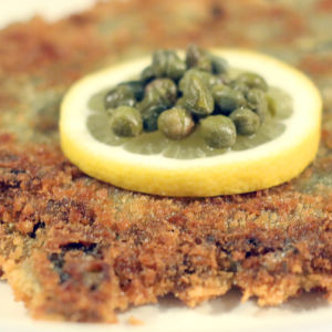Schnitzel gjord av grönkål enligt Kenneth Nars recept.