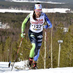 Ikaalisten Urheilijats Krista Pärmäkoski var överlägsen på 10 km klassiskt på fredagen i Ristijärvi.