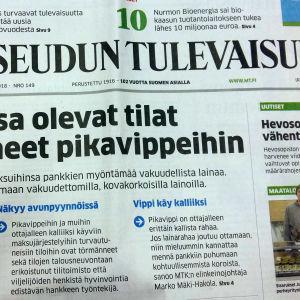 Första sidan i tidningen Maaseudun tulevaisuus om bönder som tvingas lyfta snabblån.