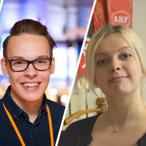 Kollagebild med tre unga finländska politiker