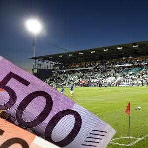 Illustrerande bild på sedlar och Kuppis fotbollsstadion.