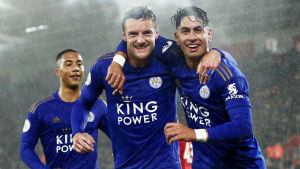 Leicesterspelare jublar efter 9-0-segern över Southampton.
