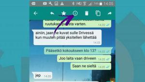 Kuvakaappaus WhatsAppista: Viestin tiedot Androidissa