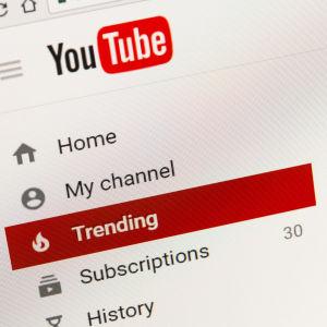 Ingångssidan på Youtube.