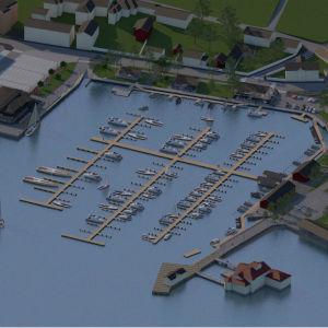 Flygbild av Norra hamnen i Ekenäs, fast inte som det ser ut nu utan en skiss med en stor stombrygga och många kortare stickbryggor. I högra hörnet nere kan man se Knipan.