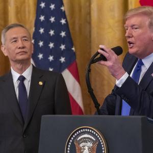 Kins vicepremiärminister Liu He och USA:s president Donald Trump.