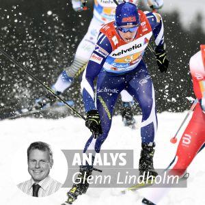 Matti Heikkinen halkar efter i herrstafetten.