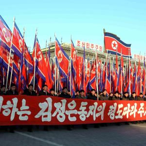 Officiell manifestation i Pyongyang.
