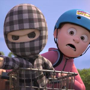 Ternet Ninja och Aske på cykel.