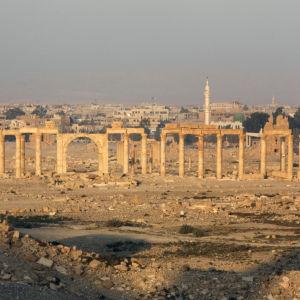 Vy över världsarvet Palmyra i Syrien.